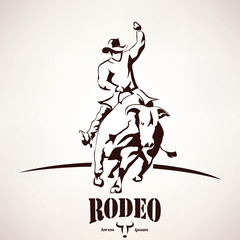 bull rodeo symbol, stylized vector silhouette