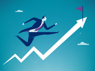 Running towards the goal. Business vector illustration