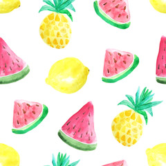 Seamless pattern with watercolor pineapples
