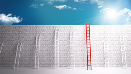 Overcoming the wall to success, 3D rendering of a white brick wall separating from success. overcoming dificult scenarious