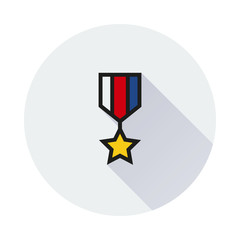 The medal icon. honor symbol on white background