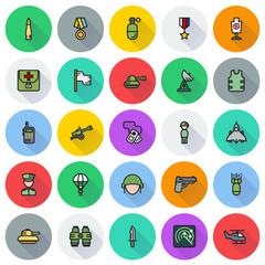 Icons set for military infographics, mobile game