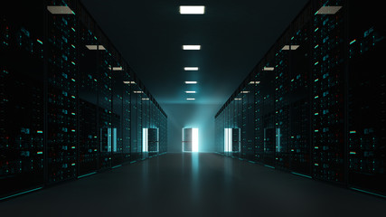 3D interior scene, with server rack and an open exit door, freedom of cloud computing concept.