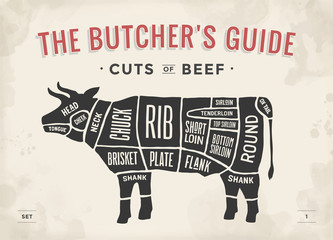 Cut of beef set. Poster Butcher diagram and scheme - Cow. Vintage typographic hand-drawn. Illustration.