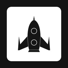 Universal rocket icon in simple style isolated on white background. Aircraft symbol