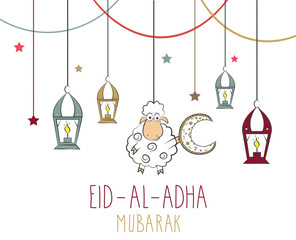 Eid Al Adha mubarak hand drawn poster. Hanging colorful lantern and sheep with moon. Vector illustration.