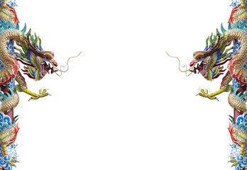 Twin Dragon statue, chinese style isolated on white background.