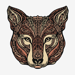 Ethnic ornamented jackal, coyote, wolf or dog. Vector illustration
