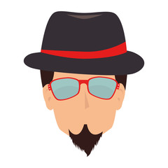man hipster hat moustache isolated vector illustration eps 10