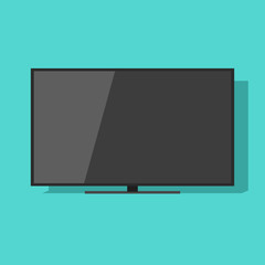 TV screen vector illustration isolated on green color background, black flat lcd television display or monitor