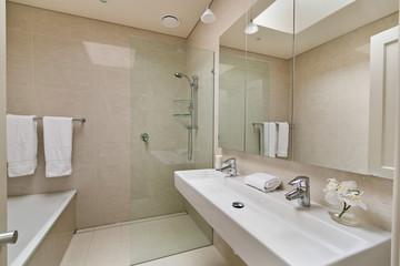 Stylish clean bathroom with shower and bath tub