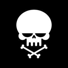 Skull and crossbones isolated. skeleton head. Sign danger of dea