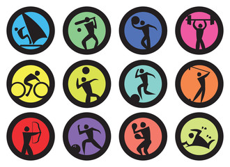 Round Badge for Sports Vector Icon Set