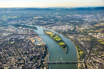 aerial view to Mainz and river Rhine