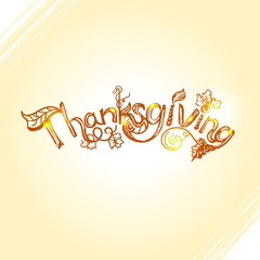 Thanksgiving lettering design with hand drawn rough sketch inscription