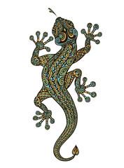 Stylized fantasy patterned lizard. Ethnic ornamented animal. Vector illustration