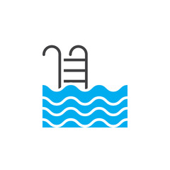 Swimming pool icon vector, solid logo illustration, colorful pictogram isolated on white
