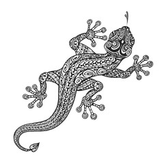 Ethnic ornamented lizard. Vintage graphic vector illustration