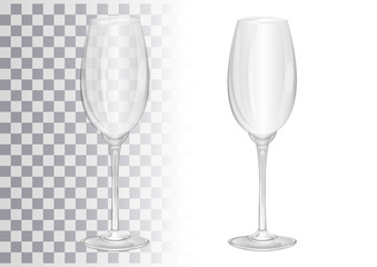 Empty champagne glass. Transparent vector illustration