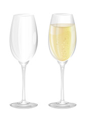 Two narrow glasses, empty and filled on a white background. Transparent vector illustration