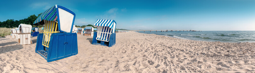 Traditional wooden beach chair on island Rugen on Baltic sea
