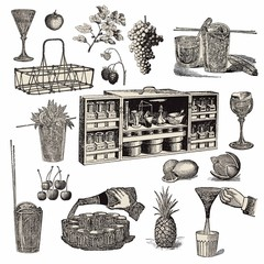 Vintage Bar Design Drawings Elements Collection Set