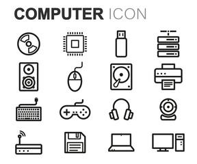 Vector black line computer icons set