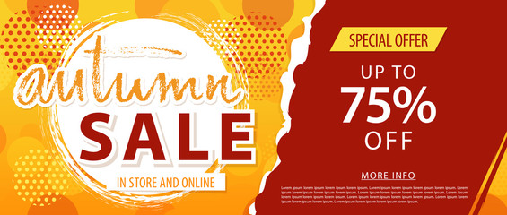 Autumn sale lettering template banner. Vector illustration in yellow, orange, red color.