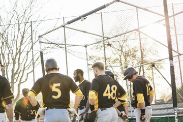 Baseball team standing together