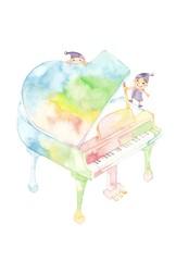 七色ピアノ、小人2人