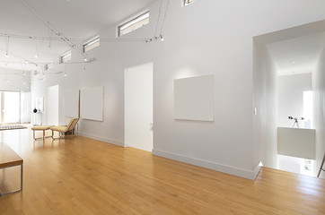 Gallery type hallway with wooden floor and and copy space for yo