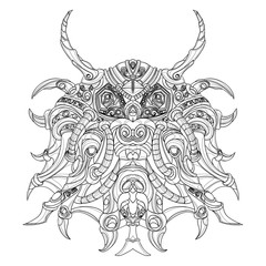 unusual mandala with horns and spikes