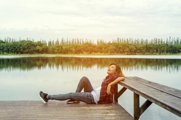 lifestyle concept - beautiful happy woman enjoying fresh air on