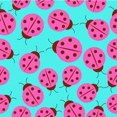 Seamless background of spring illustration with pink lady bug on blue background suitable for wrapping paper and wallpaper