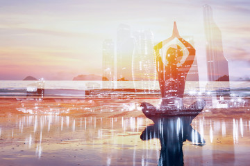 Wall Mural - yoga double exposure background, healthy lifestyle in big modern city, self improvement