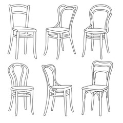 A set of furniture. 3D Sketch. Vector illustration. A set of chairs.