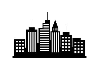 Black city vector icon on white background