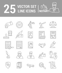 Vector set of icons in a linear design. Notary and notary office