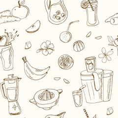 Fresh Juice seamless pattern. Vintage illustration for design