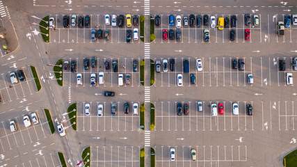 Car parking lot viewed from above, Aerial view. Top view Wall mural