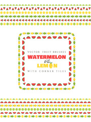 Fruit vector brushes with corner tiles. Watermelon and lemon.
