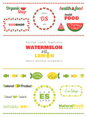 Set of vector fruit logo templates. Watermelon and lemon. Design elements.
