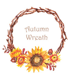 Hand-drawn watercolor illustration of the beautiful autumn wreath with different colorful flowers. Isolated on the white background