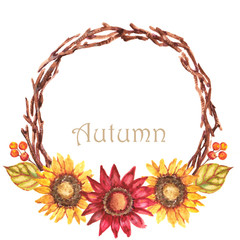 Hand-drawn watercolor illustration of the beautiful autumn wreath with sunflowers and berries. Isolated on the white background