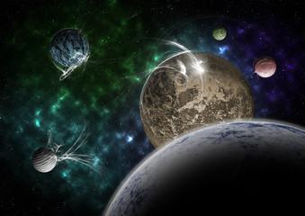 Planets and nebula
