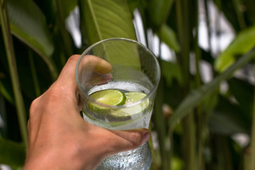 water with a lime in a hand, reading to water