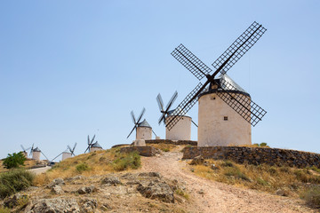 Group of windmills in Campo de Criptana. La Mancha, Consuegra, Don Quixote route, Spain, Europe