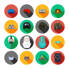 Set of vector icons of hats and masks