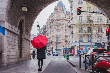 woman with red umbrella walking on the street of Paris, France