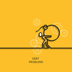 Vector business illustration in linear style with a picture of debt problems as man carries a bomb on yellow background poster or banner template.